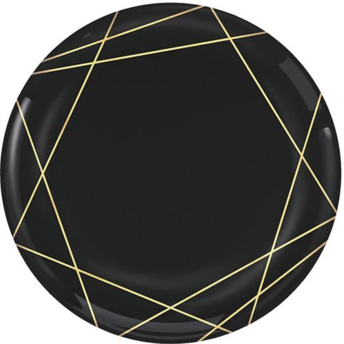 Black Metallic Gold Line Premium Plastic Dinner Plates, 10-pk Product image