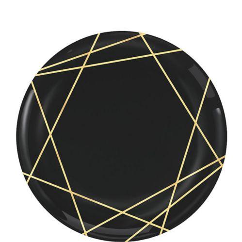 Assiettes à dessert en plastique de qualité supérieure, bordées de lignes noires dorées métallisées, paq. 20