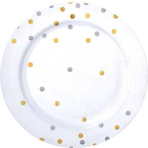 Metallic Gold & Silver Confetti Premium Plastic Dinner Plates, 10-pk