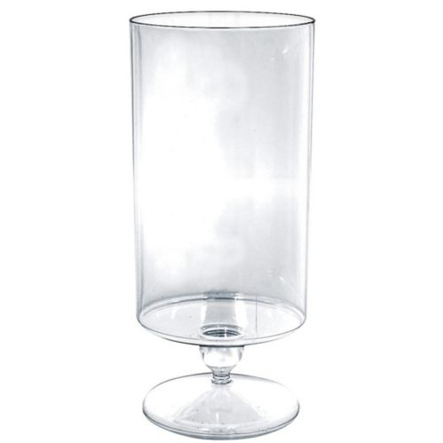 Plastic Pedestal Cylinder Container, Clear