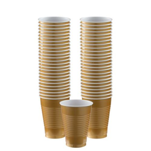 Gold Plastic Cups, 50-ct Product image