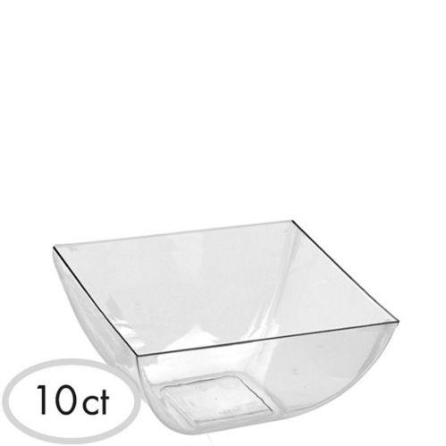 Mini Clear Plastic Square Bowls, 10-pk