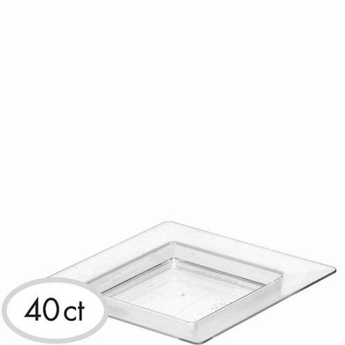 Mini assiettes à hors-d'oeuvre carrées en plastique transparent, paq. 40