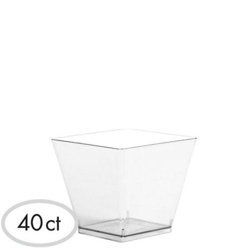 Mini Plastic Cubed Bowls, 40-pk