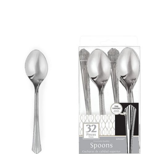 Silver Fan Handle Premium Plastic Spoons, 32-pk