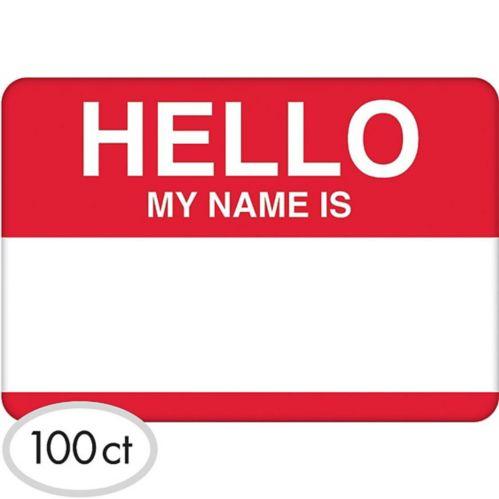 Red Border Hello Name Tags, 100-pk