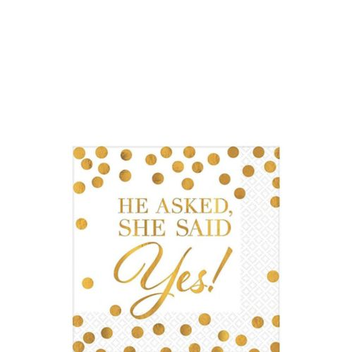 Gold She Said Yes Wedding Beverage Napkins, 16-pk