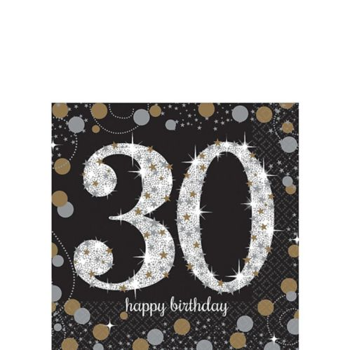 Sparkling Celebration 30th Birthday Beverage Napkins, 16-pk