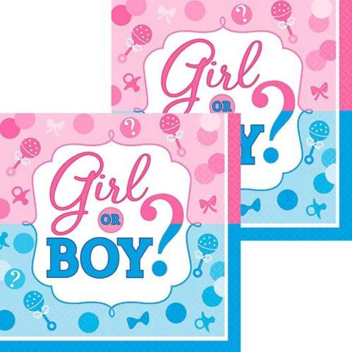 Serviettes pour boissons dévoilement du sexe fille ou garçon, paq. 16 Image de l'article