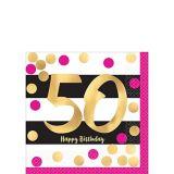 Serviettes pour boissons 50e anniversaire, rose métallique et doré, paq. 16
