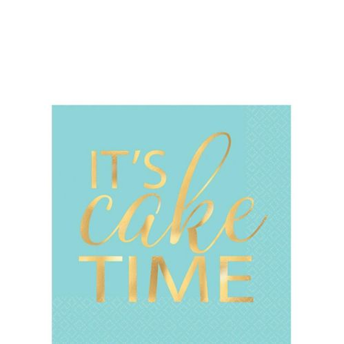 Cake Time Pastel & Metallic Gold Beverage Napkins