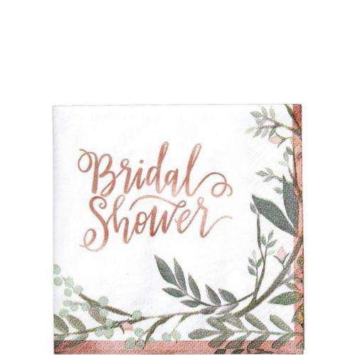 Floral Greenery Bridal Shower Beverage Napkins, 16-pk