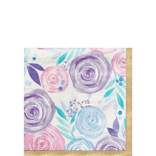 Serviettes pour boissons à fleurs, pastel, paq. 16