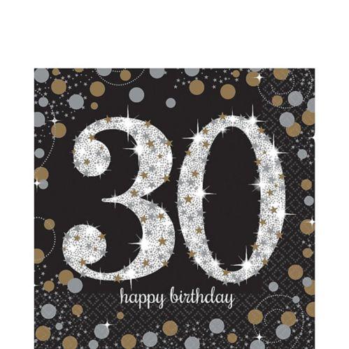 Serviettes de table Célébration scintillante 30e anniversaire, paq. 16
