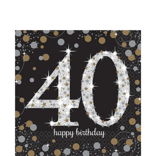 Sparkling Celebration 40th Birthday Lunch Napkins, 16-pk