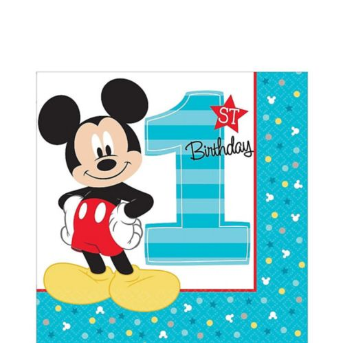 1st Birthday Mickey Mouse Lunch Napkins, 16-pk