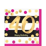 Metallic Pink & Gold 40th Birthday Lunch Napkins, 16-pk