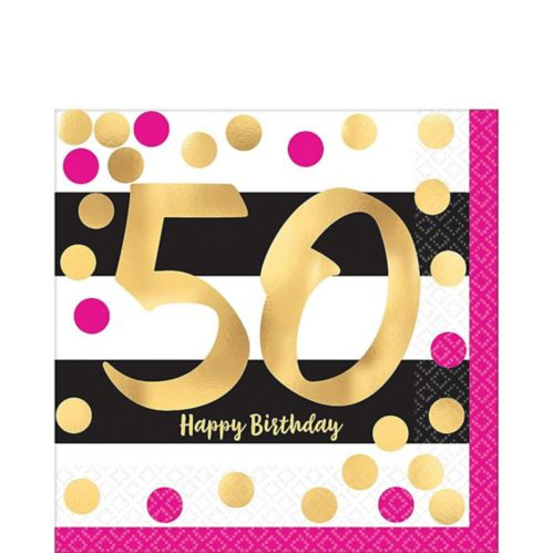 Serviettes de table 50e anniversaire, rose métallique et doré, paq. 16