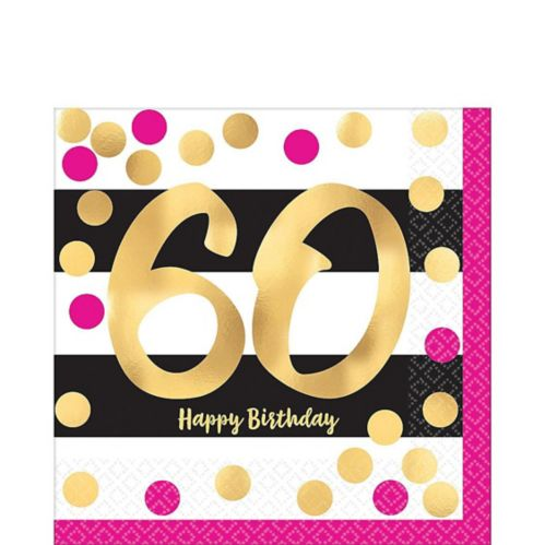 Metallic Pink & Gold 60th Birthday Lunch Napkins, 16-pk