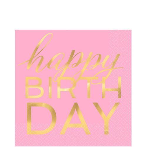 Happy Birthday Pastel & Metallic Gold Lunch Napkins, 16-pk