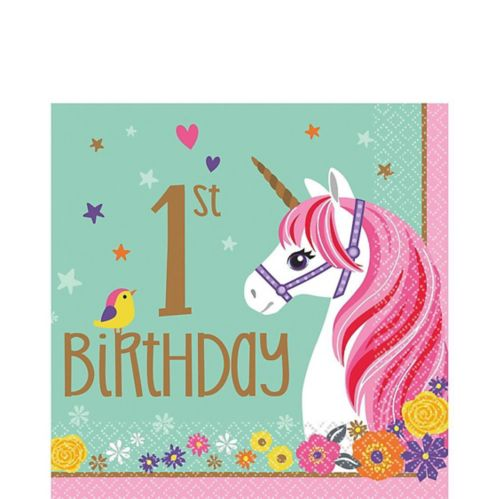 Magical Unicorn 1st Birthday Lunch Napkins, 16-pk