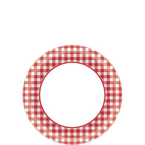 Picnic Party Red Gingham Dessert Plates, 40-pk