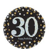 Sparkling Celebration Prismatic 30th Birthday Dessert Plates, 8-pk