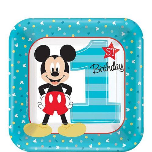 1st Birthday Mickey Mouse Dessert Plates, 8-pk