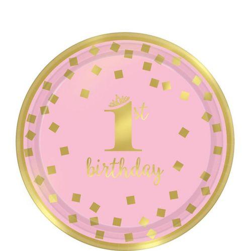Assiettes à dessert 1st Birthday à motif de confettis, rose et or métallisé, paq. 8 Image de l'article