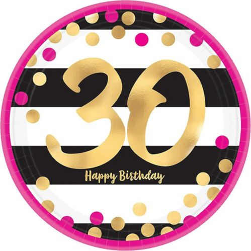 Metallic Pink & Gold 30th Birthday Dessert Plates, 8-pk