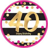 Metallic Pink & Gold 40th Birthday Dessert Plates, 8-pk