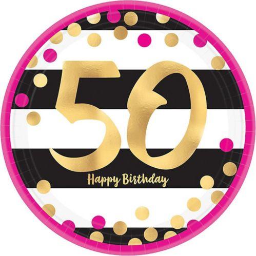 Metallic Pink & Gold 50th Birthday Dessert Plates, 8-pk
