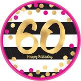 Metallic Pink & Gold 60th Birthday Dessert Plates, 8-pk