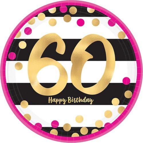 Metallic Pink & Gold 60th Birthday Dessert Plates, 8-pk Product image