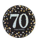 Assiettes à dessert 70th Birthday scintillantes iridescentes, paq. 8