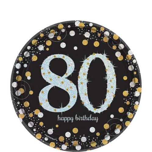 Sparkling Celebration Prismatic 80th Birthday Dessert Plates, 8-pk