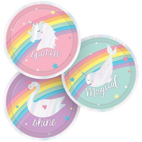 Iridescent Magical Rainbow Dessert Plates, 8-pk