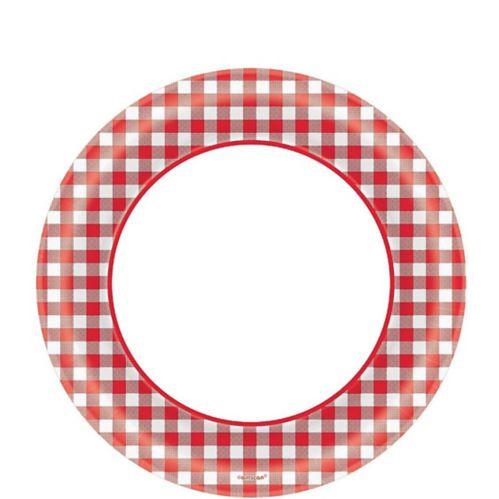 Assiettes à déjeuner guingan rouge Pique-nique festif, paq. 40
