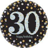 Assiettes à déjeuner 30th Birthday scintillantes iridescentes, paq. 8