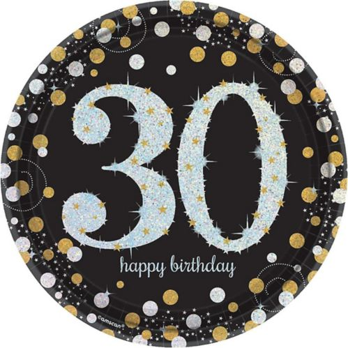 Sparkling Celebration Prismatic 30th Birthday Lunch Plates, 8-pk