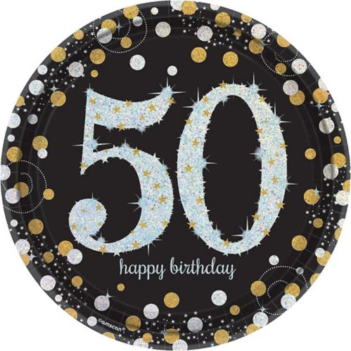 Sparkling Celebration Prismatic 50th Birthday Lunch Plates, 8-pk