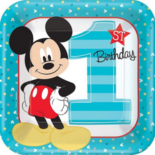 1st Birthday Mickey Mouse Lunch Plates, 8-pk Product image