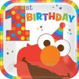 Sesame Street Elmo 1st Birthday Lunch Plates, 8-pk