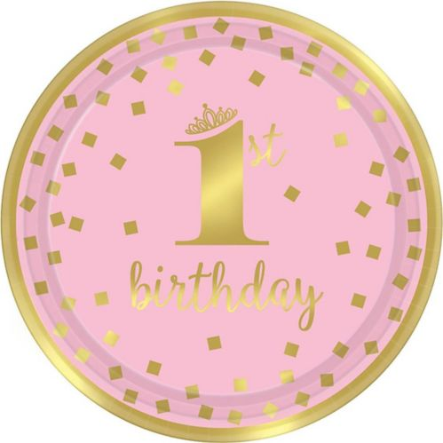 Metallic Pink & Gold Confetti 1st Birthday Lunch Plates, 8-pk