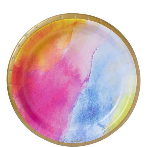 Watercolour Rainbow Lunch Plates, 8-pk