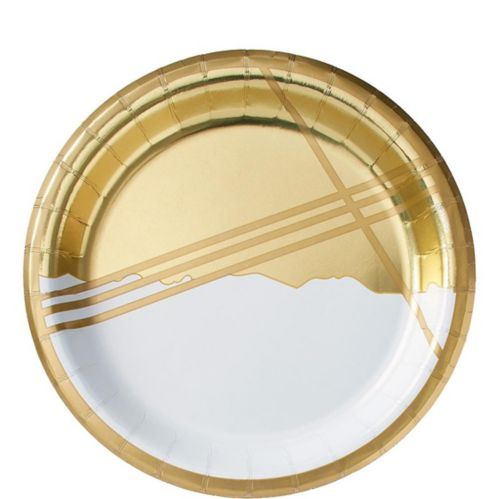 Metallic Gold Facet Lunch Plates, 8-pk
