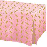 Pink & Gold Confetti 1st Birthday Flannel-Backed Vinyl Fitted Table Cover