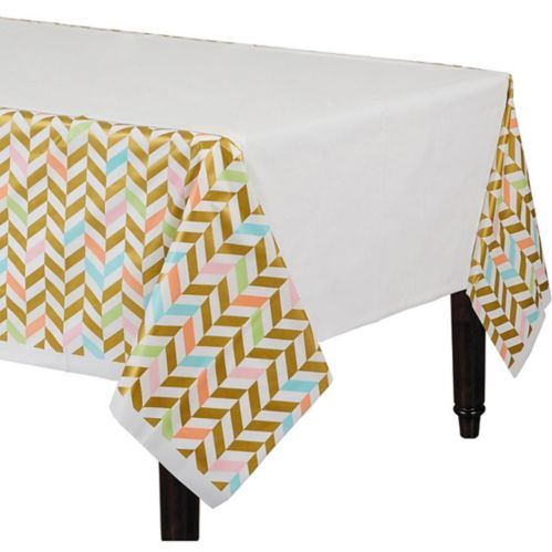 Pastel & Gold Herringbone Table Cover Product image