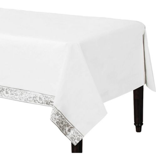 White & Silver Scroll Premium Paper Table Cover Product image