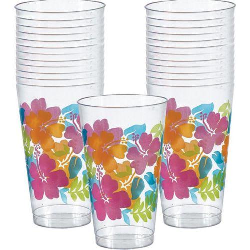 Gobelets en plastique à motif d'hibiscus, paq. 25 Image de l'article
